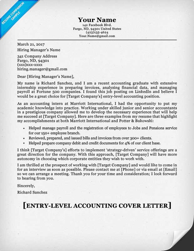 Entry Level Accounting Cover Letter & Writing Tips Resume Companion