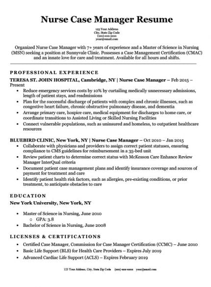 nurse case manager resume templates