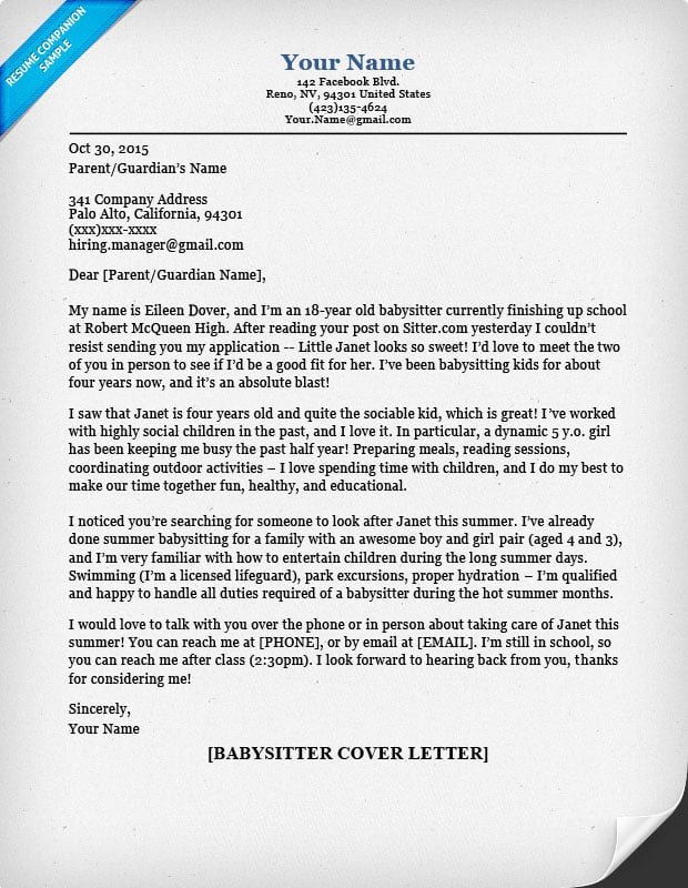 Cover Letter Contact Information