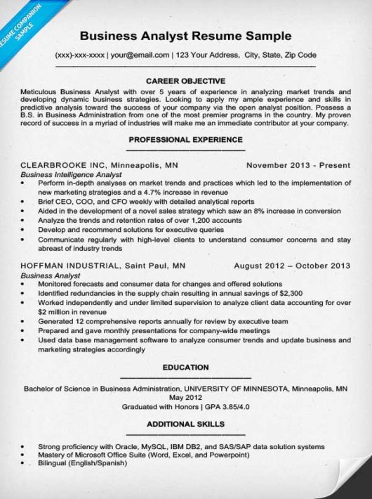 Business Analyst Resume Sample & Writing Tips Resume Companion