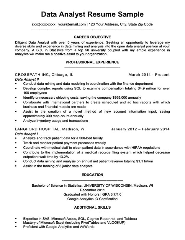 resume objective examples business analyst