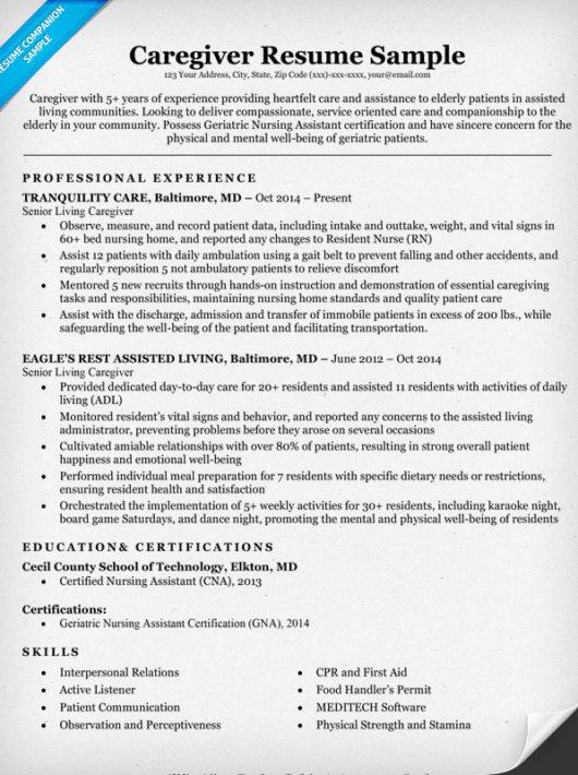 sample of caregiver resume unforgettable caregiver resume