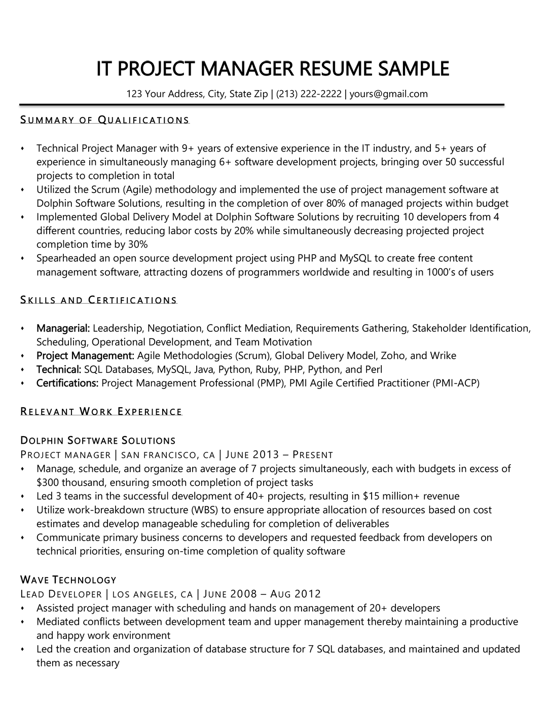 Project Manager Resume Sample Amp Writing Tips
