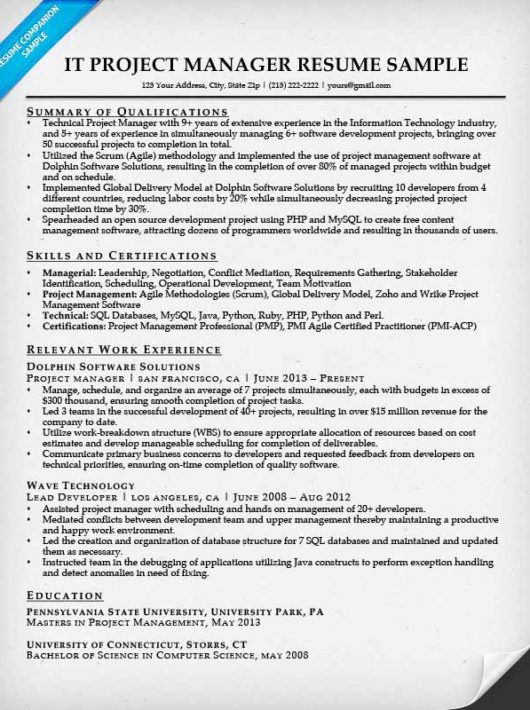 project manager resume sample writing tips resume companion - Project Management Resume Examples