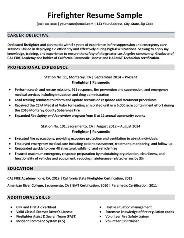 sample fire department resume
