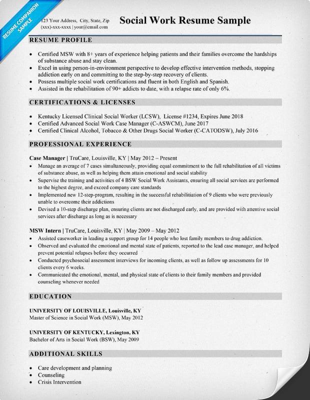 Social Work Resume Sample  Writing Tips  Resume Companion