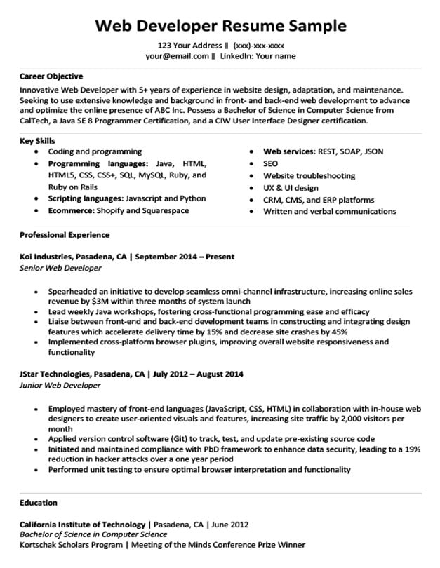 sample junior project manager resumes