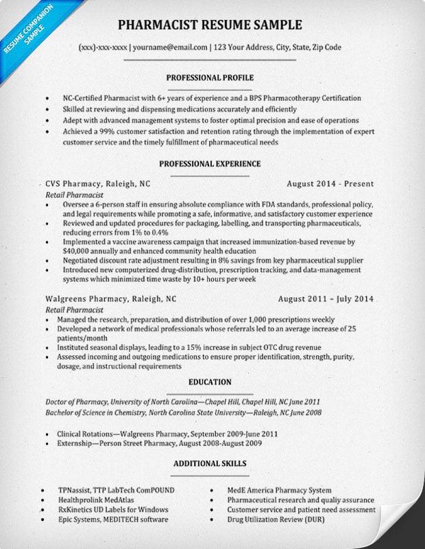pharmacist resume sample writing tips companion - Pharmacist Resume Sample