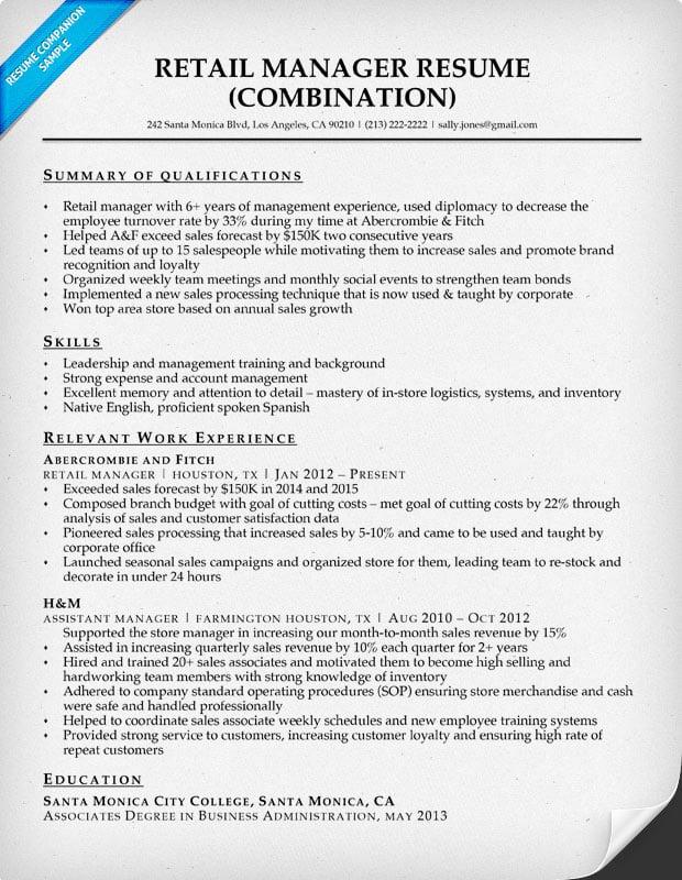 Retail Manager Resume Sample & Writing Tips  Resume Companion