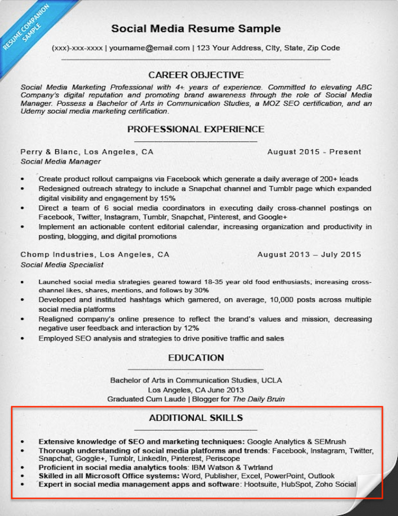 Resume Skills Section Example Examples of Resumes