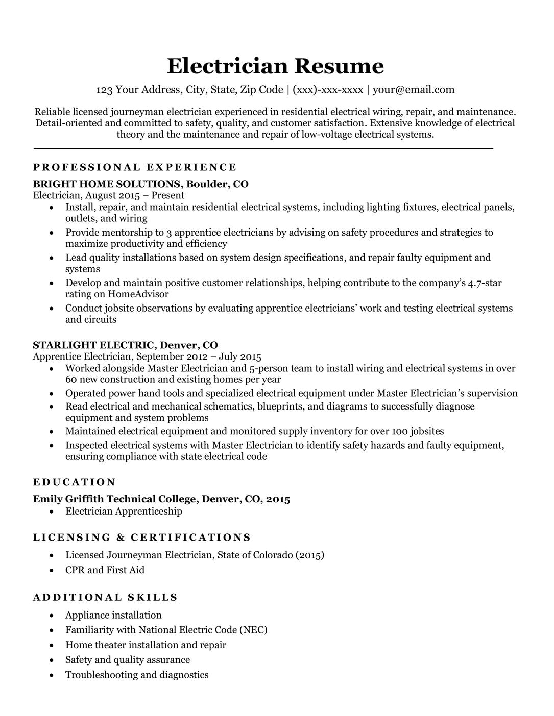 resume sample detail oriented