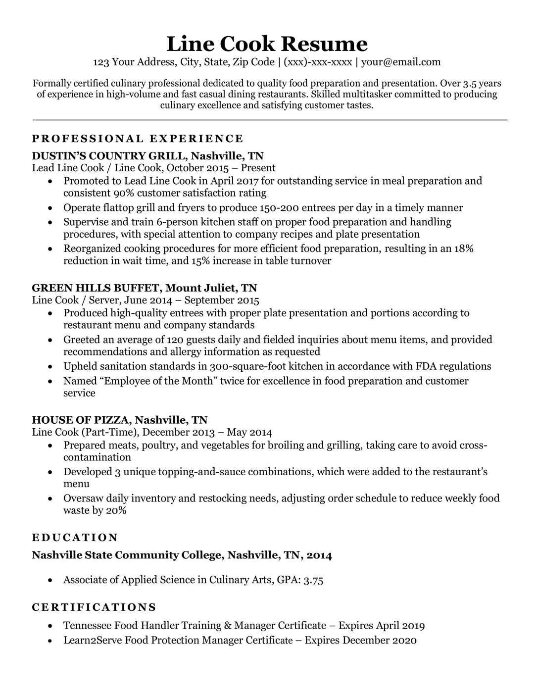 resume examples for cook at cook out