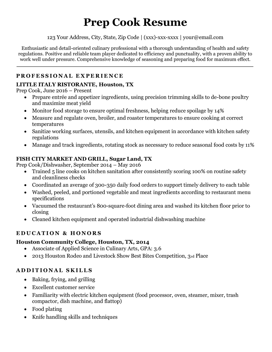 Changing career to manager job or management position resume objective. Prep Cook Resume Sample Writing Tips Resume Companion