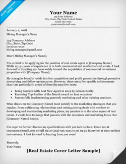 Real Estate Cover Letter Sample  Writing Tips  Resume Companion