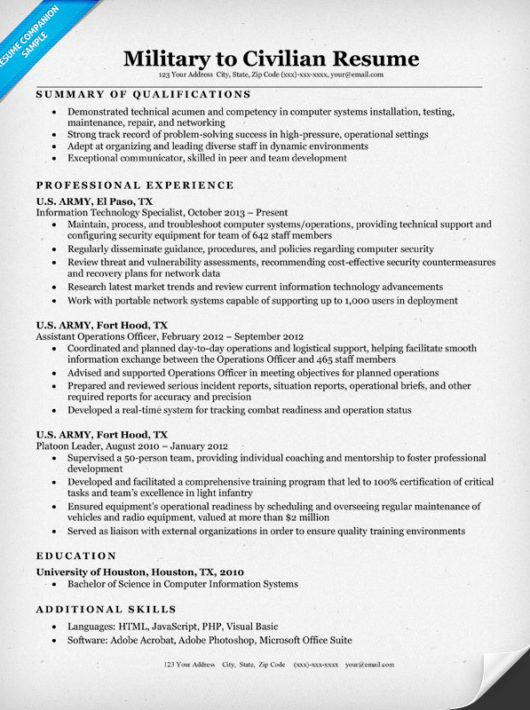 Military To Civilian Resume Sample & Writing Tips Resume
