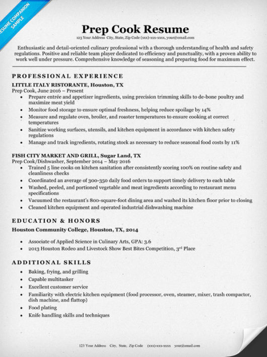 cook job resume examples