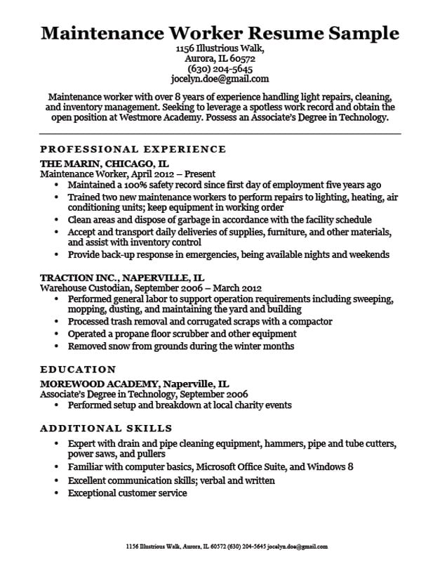 maintenance skills for resume