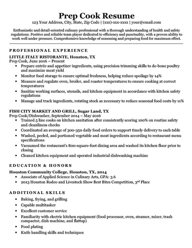 cook restaurant resume samples