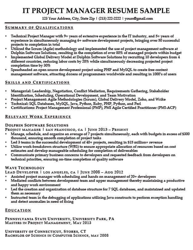 project admin resume sample