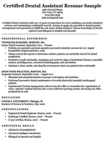 sample resume for pediatric dental assistant