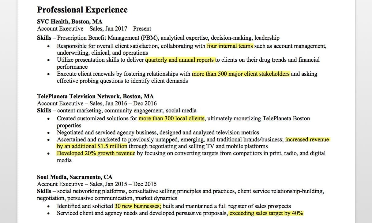 resume objective examples for account executive