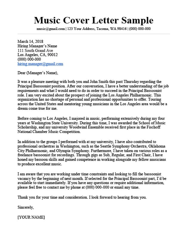 Cover Letter Audition Resume Format