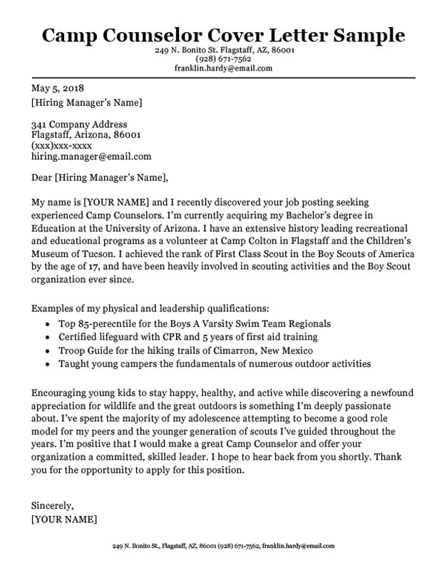 Camp Counselor Cover Letter Sample  Tips  Resume Companion