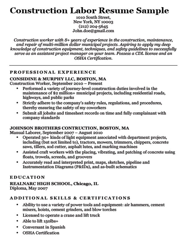 resume examples for contruction