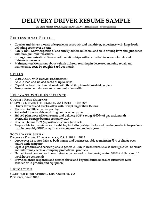 Delivery Driver Resume Sample | Resume Companion