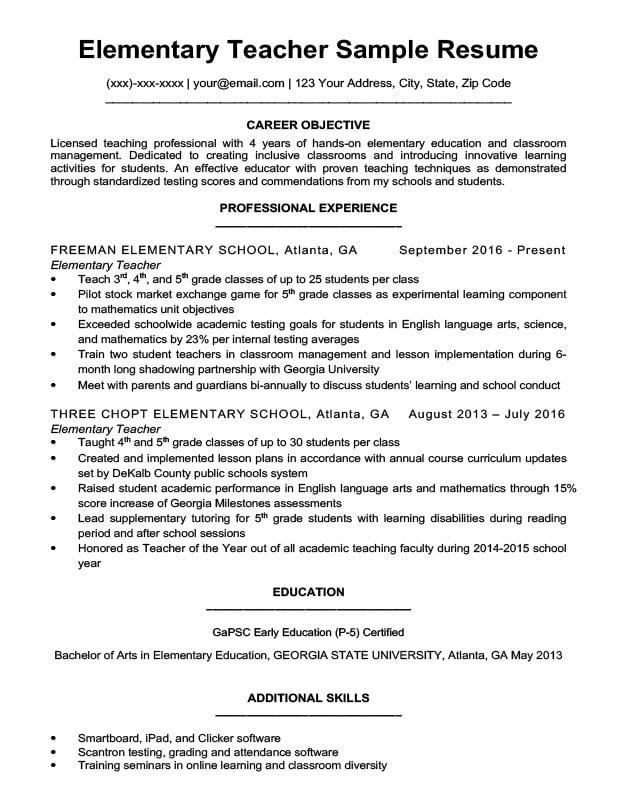 Elementary Teacher Resume Sample  Writing Tips  Resume Companion