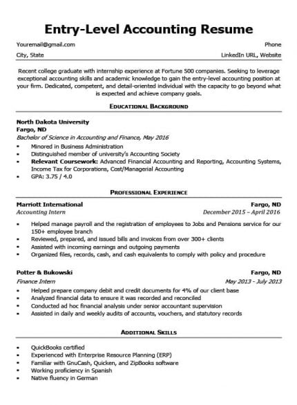 resume builder for little experience