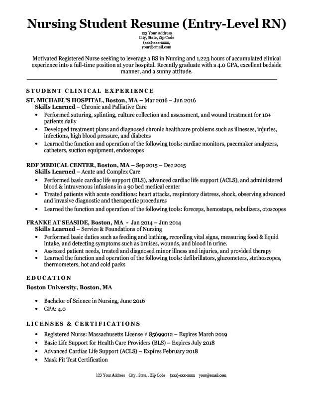 resume sample of nursing student