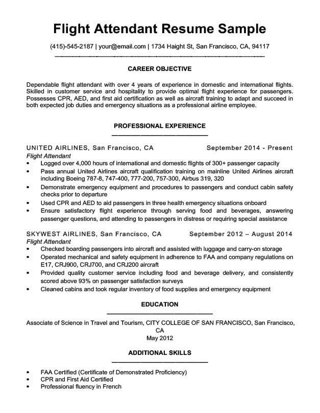 american airlines flight attendant entry resume sample