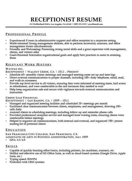 resume model for receptionist