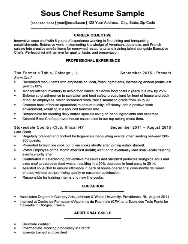 resume objective examples chef