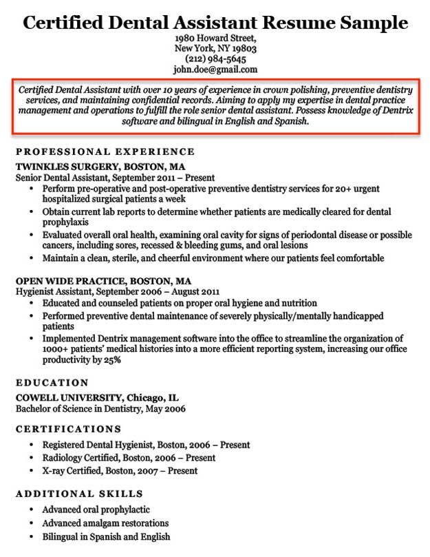 an example for objective on a resume