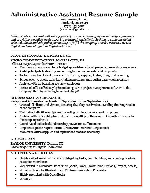 list of skills abilities experiences examples for resume