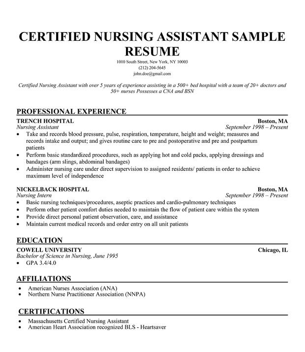 Cna Resume Example Example Cna Resume Resume For Cna Examples