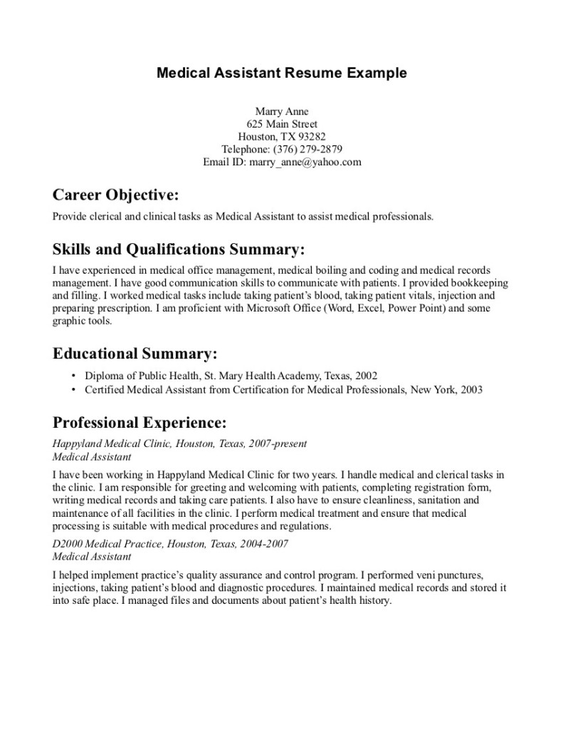 Biology Medical Assistant Resume Samples 791×1024