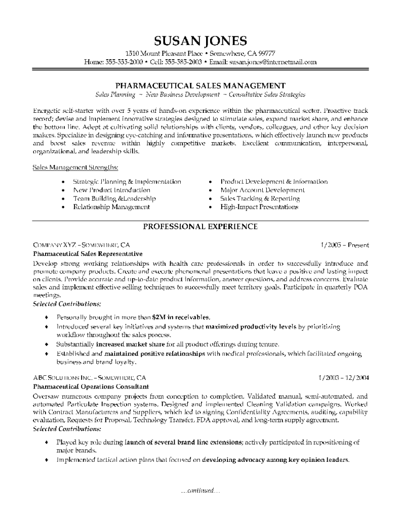 pharmaceutical sales resume example examples of resumes