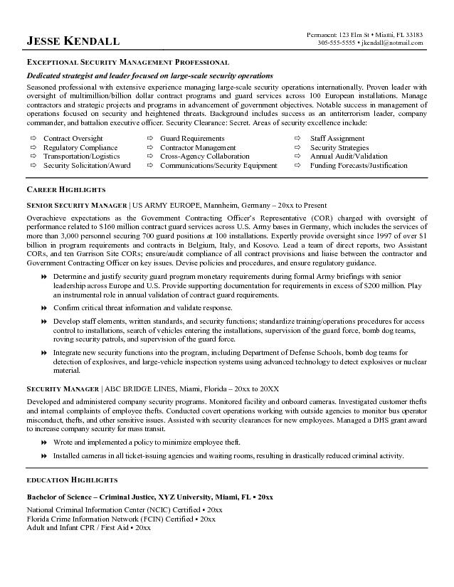 Security Guard Resume Example Template Blank Security Guard
