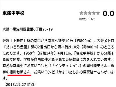 相川七瀬 東淀中学校