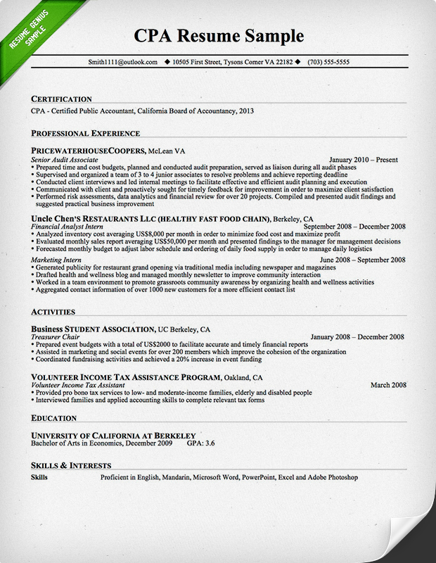 Sample Cpa Resumes Cpa Resume Sample Writing Guide Resume Genius
