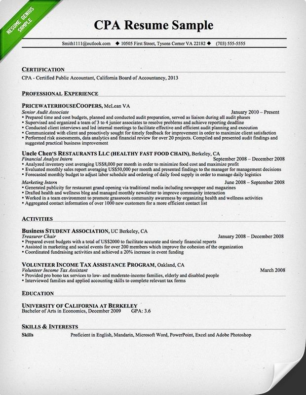 sample of quantifying accounting resume