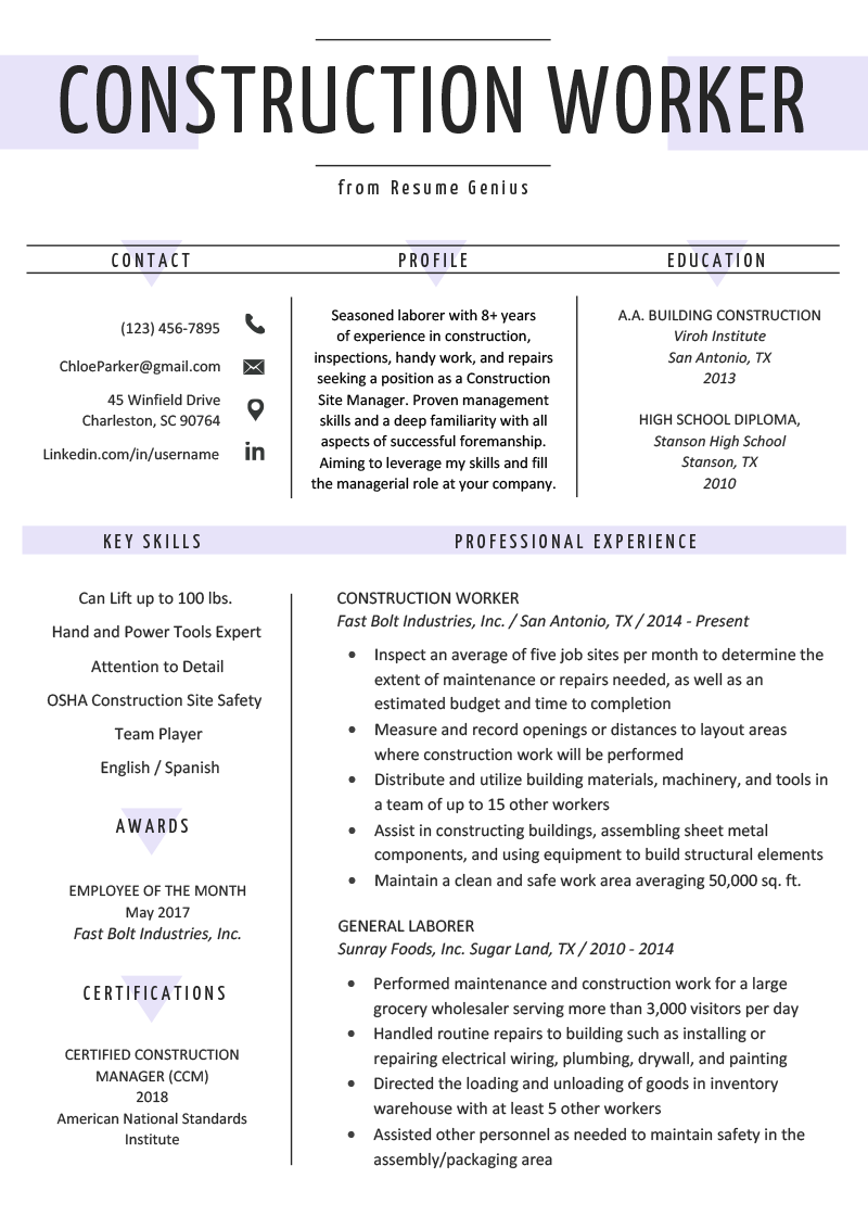Good Resume Examples For Jobs Construction Worker Resume Example Writing Guide Resume Genius