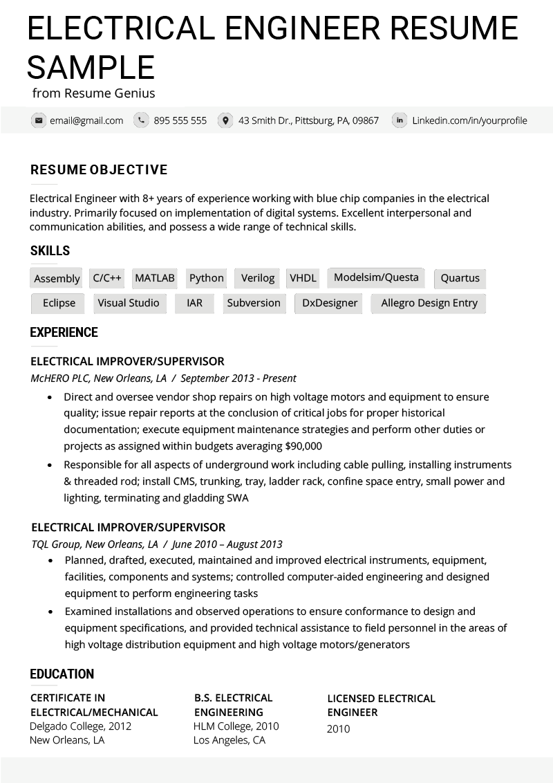 Standard Resume Format Template Electrical Engineer Resume Example Writing Tips Resume Genius