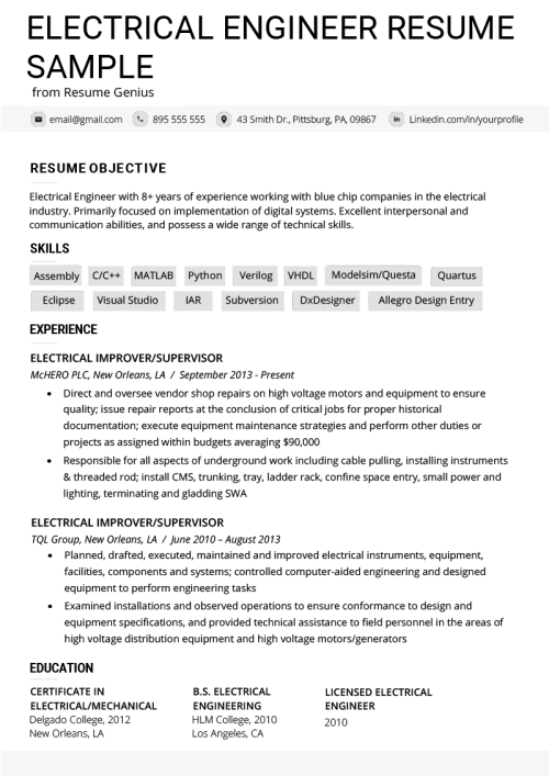 small resolution of electrical engineer resume example template