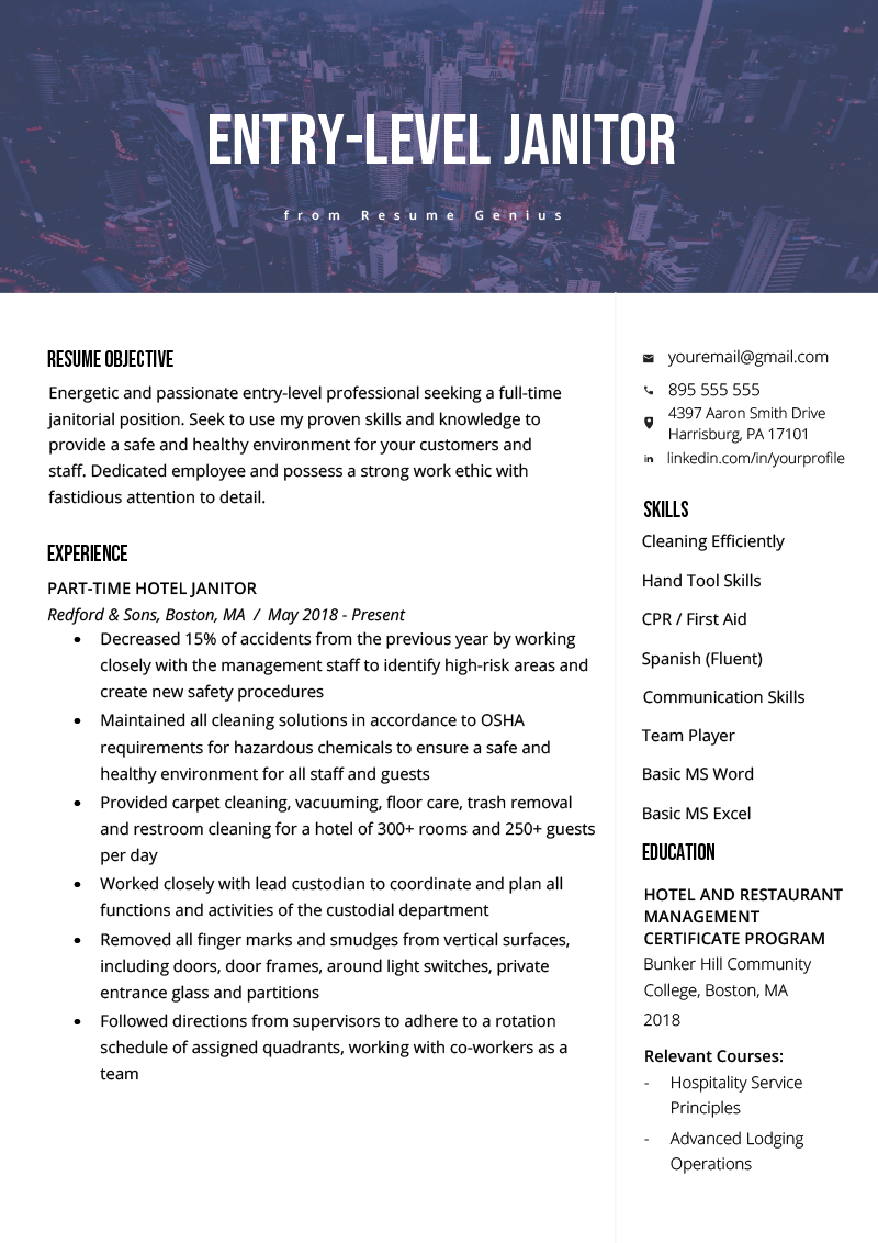 resume template janitor
