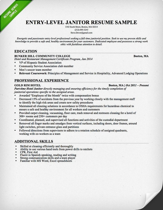 Entry Level Janitor Resume Sample Resume Genius