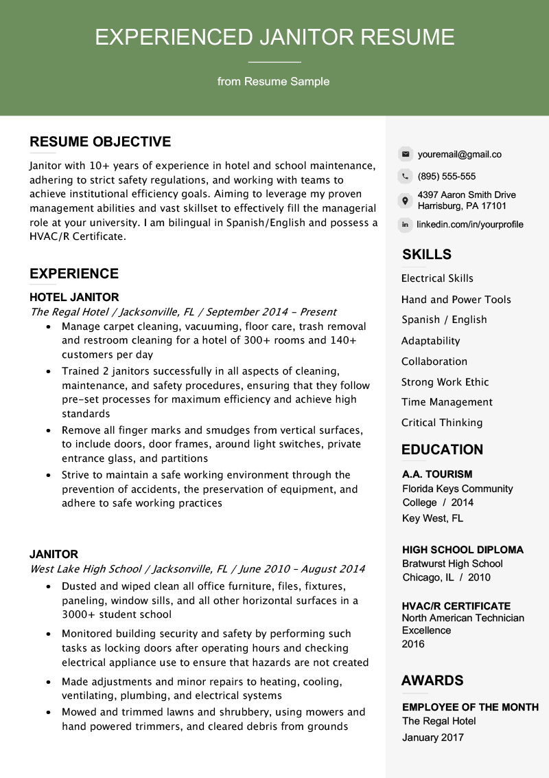 Professional Janitor Resume Sample & Writing Tips Resume